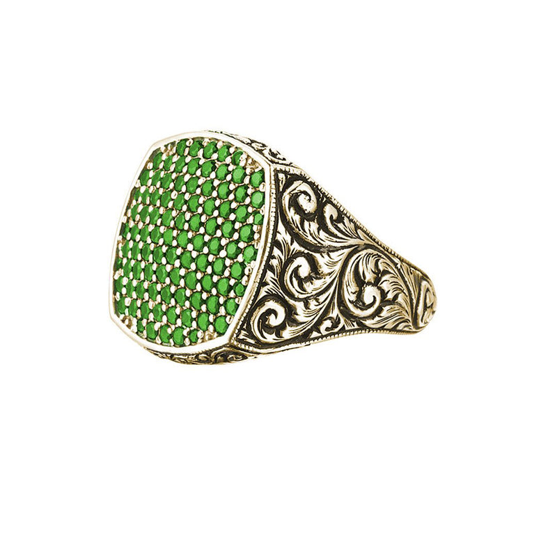 Classic Cushion Pave Ring - Yellow Gold - Pave Emerald