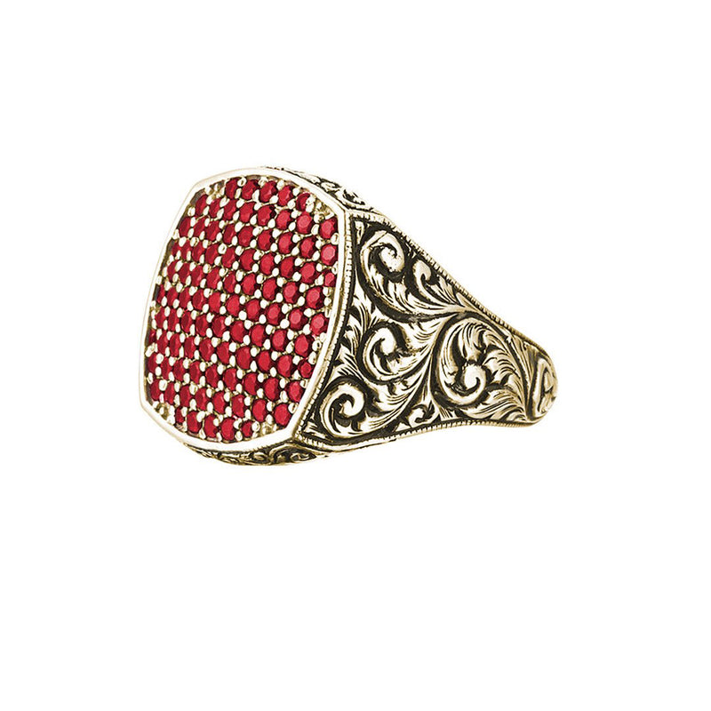 Classic Cushion Pave Ring - Yellow Gold - Pave Ruby