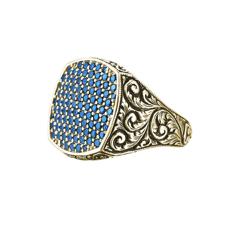 Classic Cushion Pave Ring - Yellow Gold - Pave Sapphire
