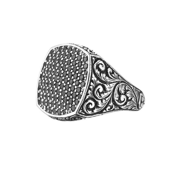 Classic Cushion Pave Ring - Solid Silver - Pave Black Diamond