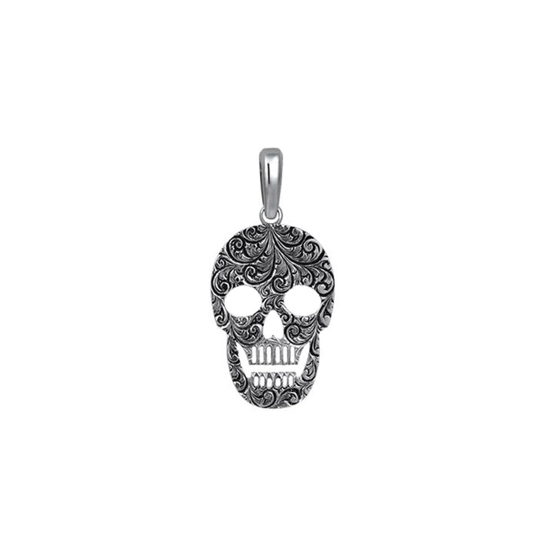 Mens Skull Necklace - Solid Silver