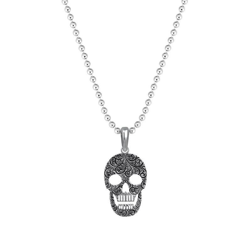 Classic Skull Necklace - Solid Silver