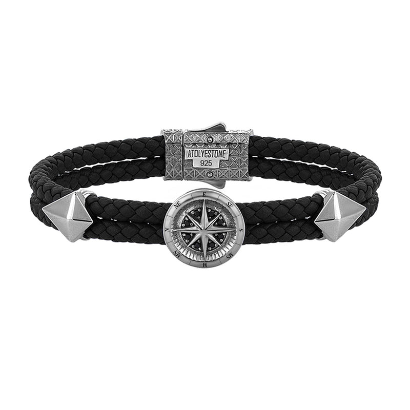 Mens Compass Leather Bracelet - Black Leather - Gunmetal
