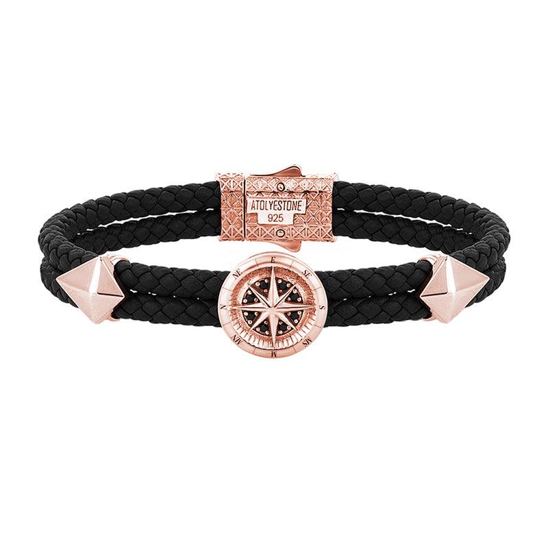 Mens Compass Leather Bracelet - Black Leather - Rose Gold