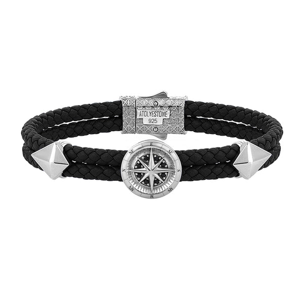 Mens Compass Leather Bracelet - Black Leather - Solid Silver