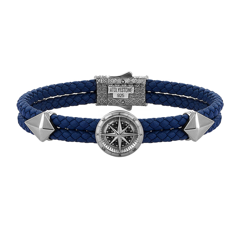 Mens Compass Leather Bracelet - Blue Leather - Gunmetal