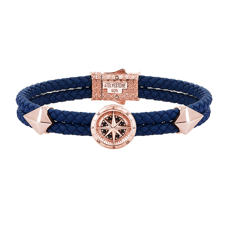 Mens Compass Leather Bracelet - Blue Leather - Rose Gold