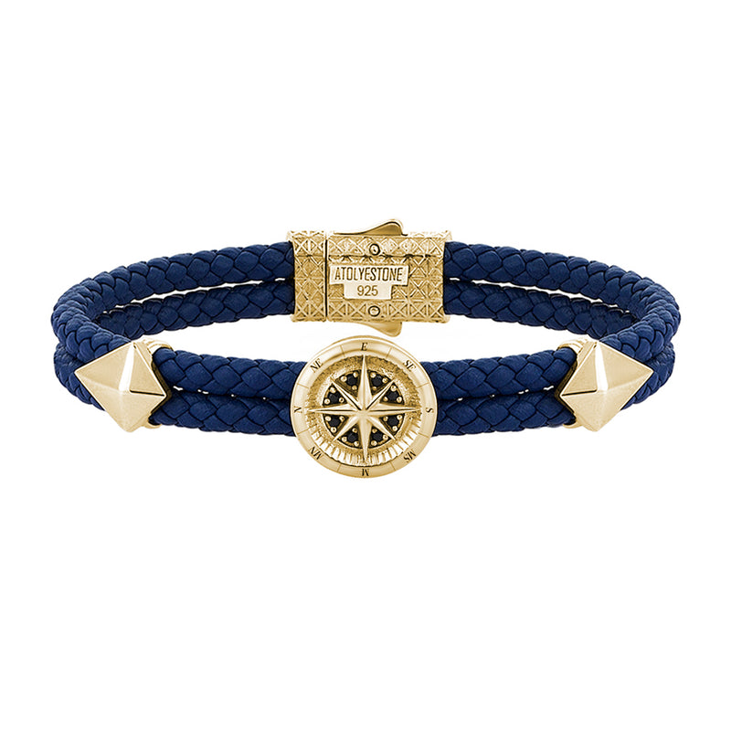 Mens Compass Leather Bracelet - Blue Leather - Yellow Gold