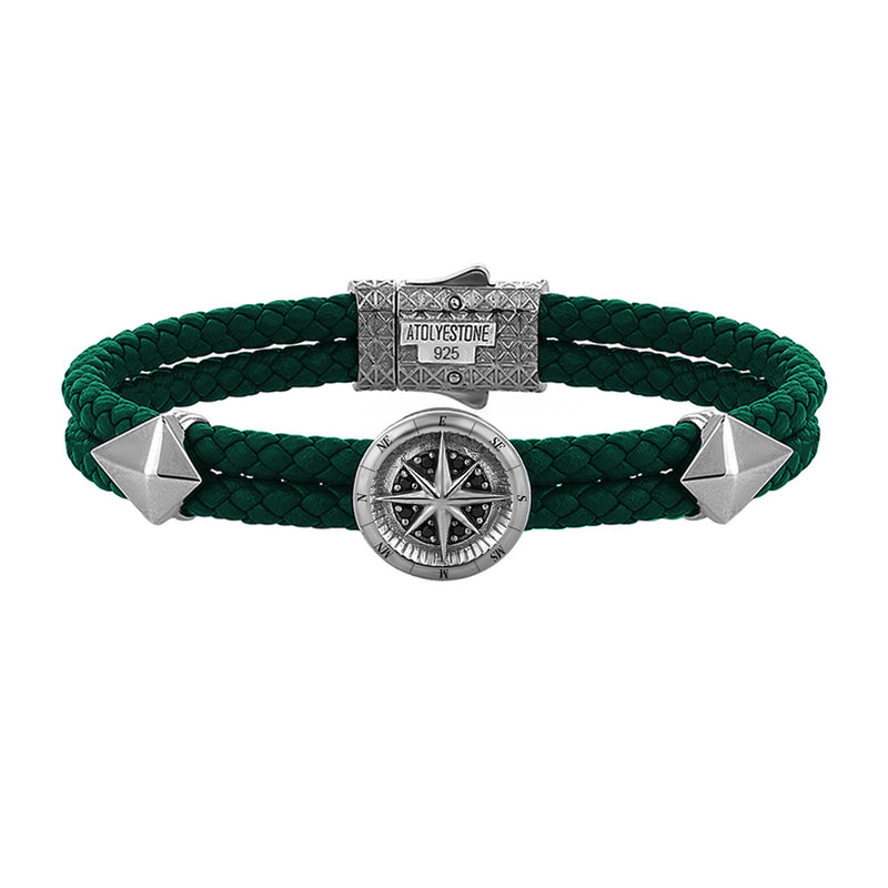 Mens Compass Leather Bracelet - Dark Green Leather - Gunmetal