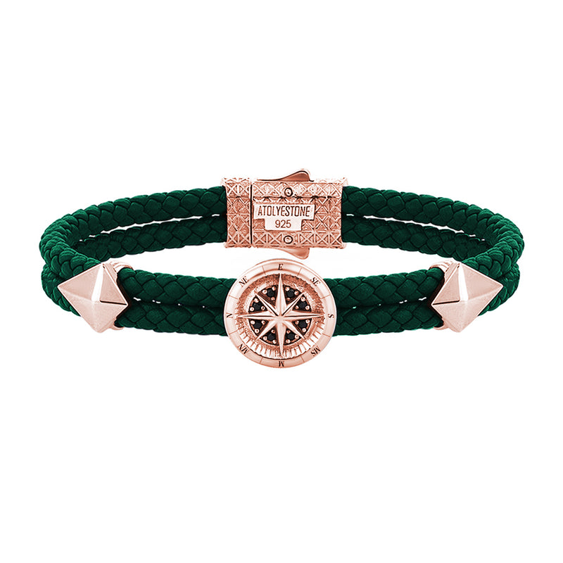 Mens Compass Leather Bracelet - Dark Green Leather - Rose Gold