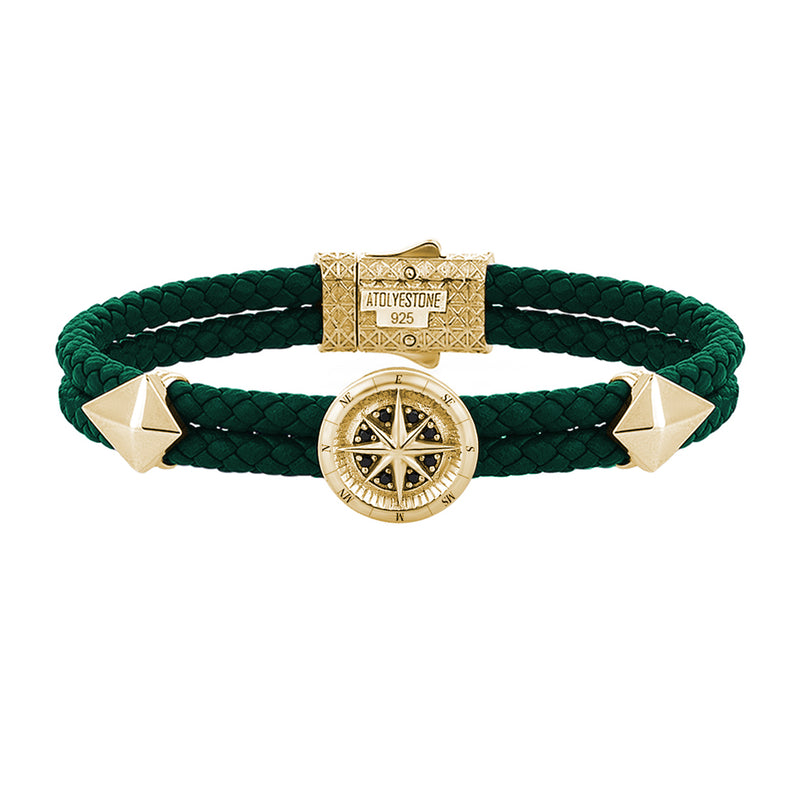 Mens Compass Leather Bracelet - Dark Green Leather - Yellow Gold