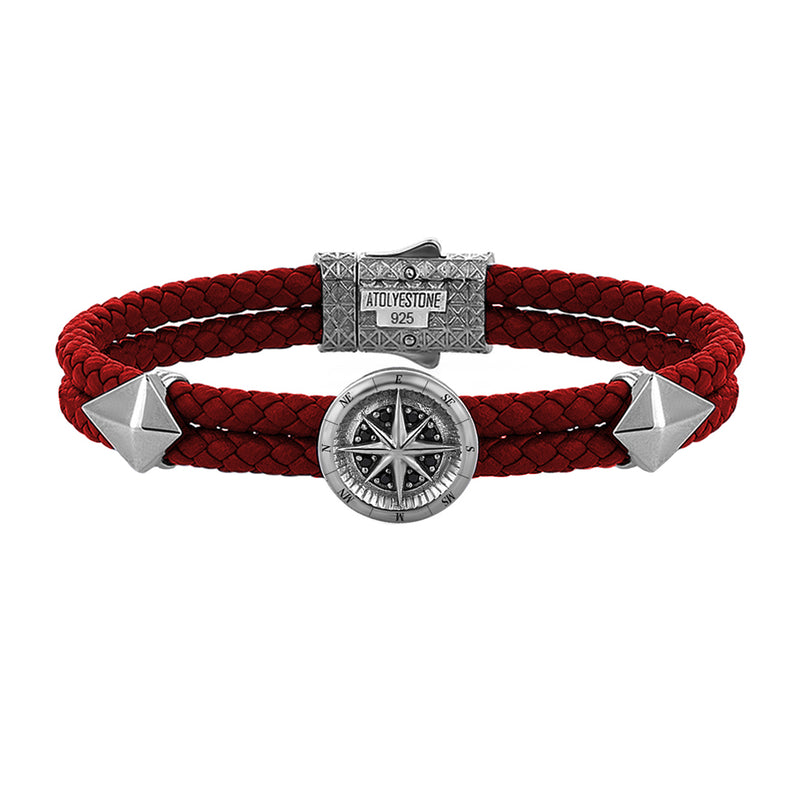 Mens Compass Leather Bracelet - Dark Red Leather - Gunmetal