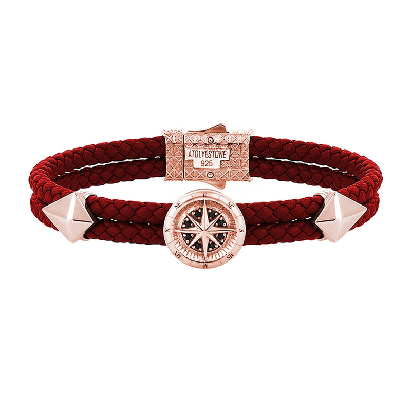Mens Compass Leather Bracelet - Dark Red Leather - Rose Gold
