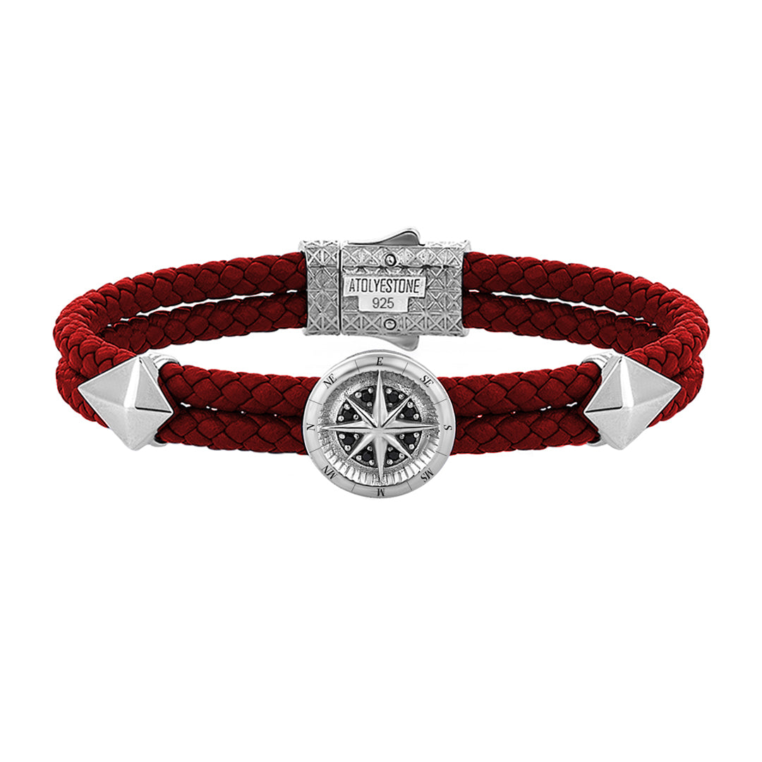Compass Leather Bracelet - Solid Silver