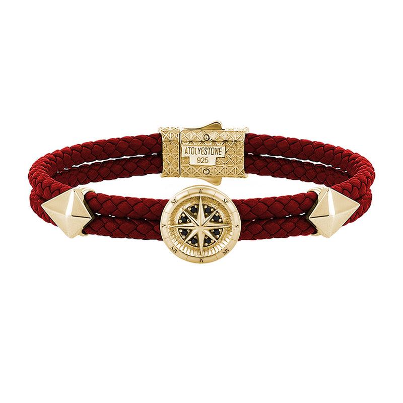 Mens Compass Leather Bracelet - Dark Red Leather - Yellow Gold
