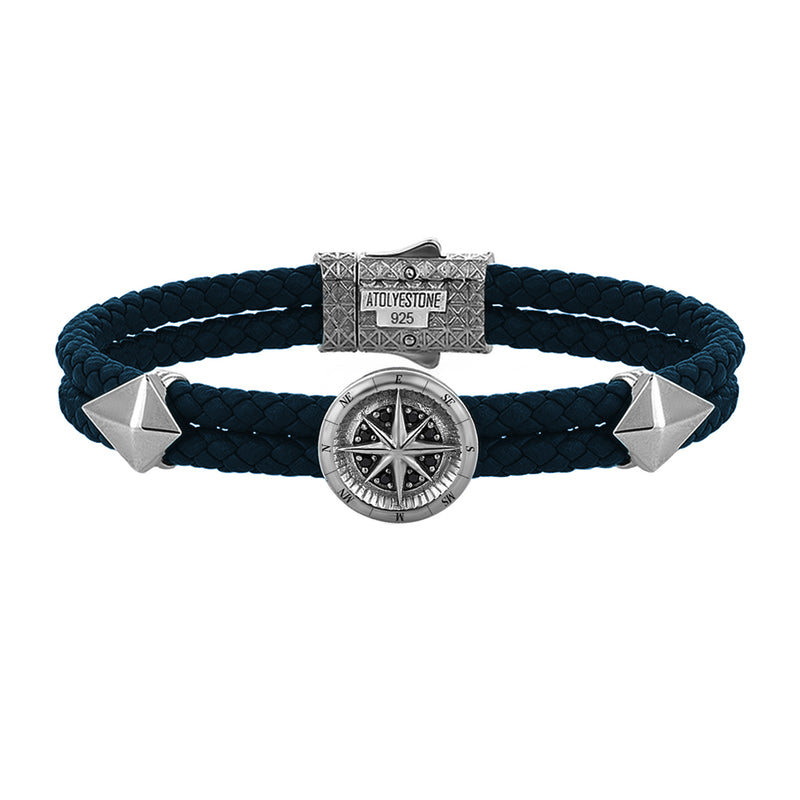 Compass Leather Bracelet - Gunmetal - Navy Nappa