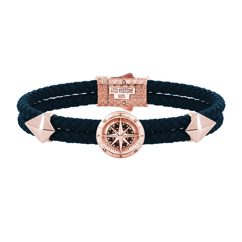 Compass Leather Bracelet - Rose Gold - Navy Nappa