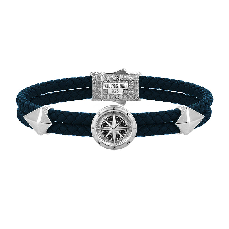 Compass Leather Bracelet - Silver - Navy Nappa