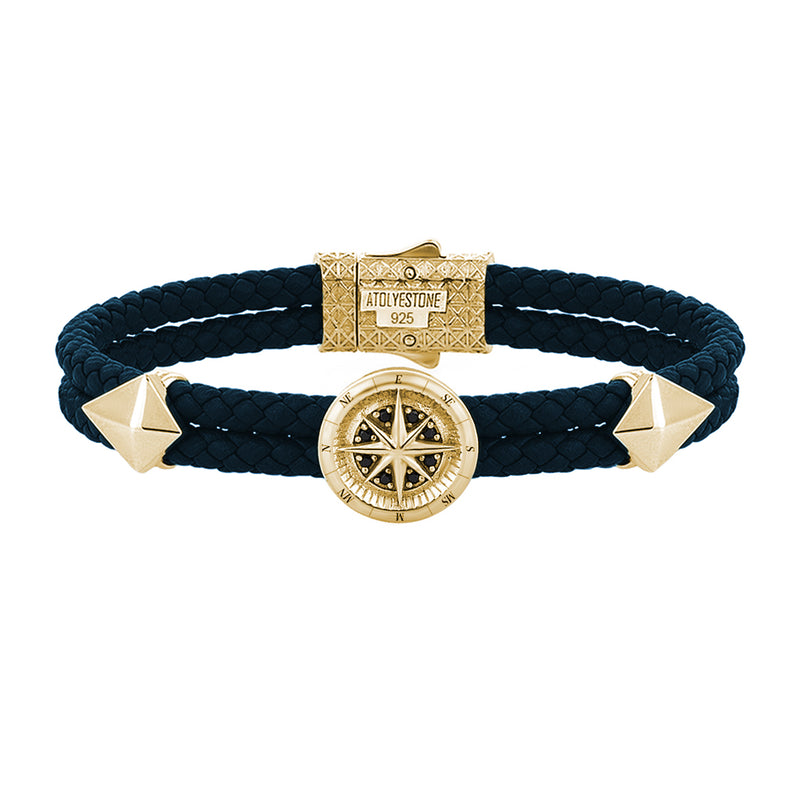 Compass Leather Bracelet - Yellow Gold - Navy Nappa