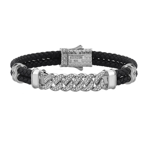 Mens Cuban Links Leather Bracelet - Black Leather - Silver