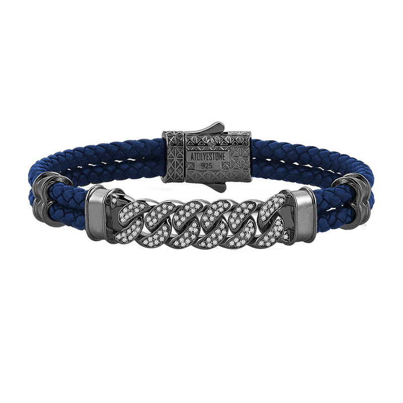 Mens Cuban Links Leather Bracelet - Blue Leather - Gunmetal