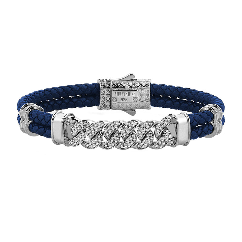 Mens Cuban Links Leather Bracelet - Blue Leather - Silver