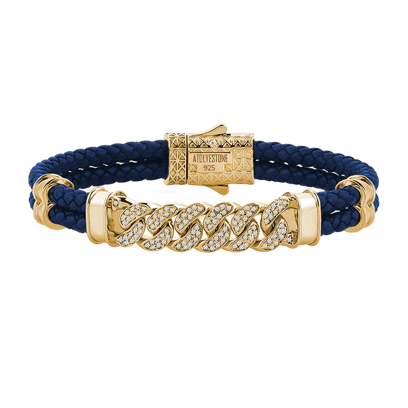 Mens Cuban Links Leather Bracelet - Blue Leather - Yellow Gold