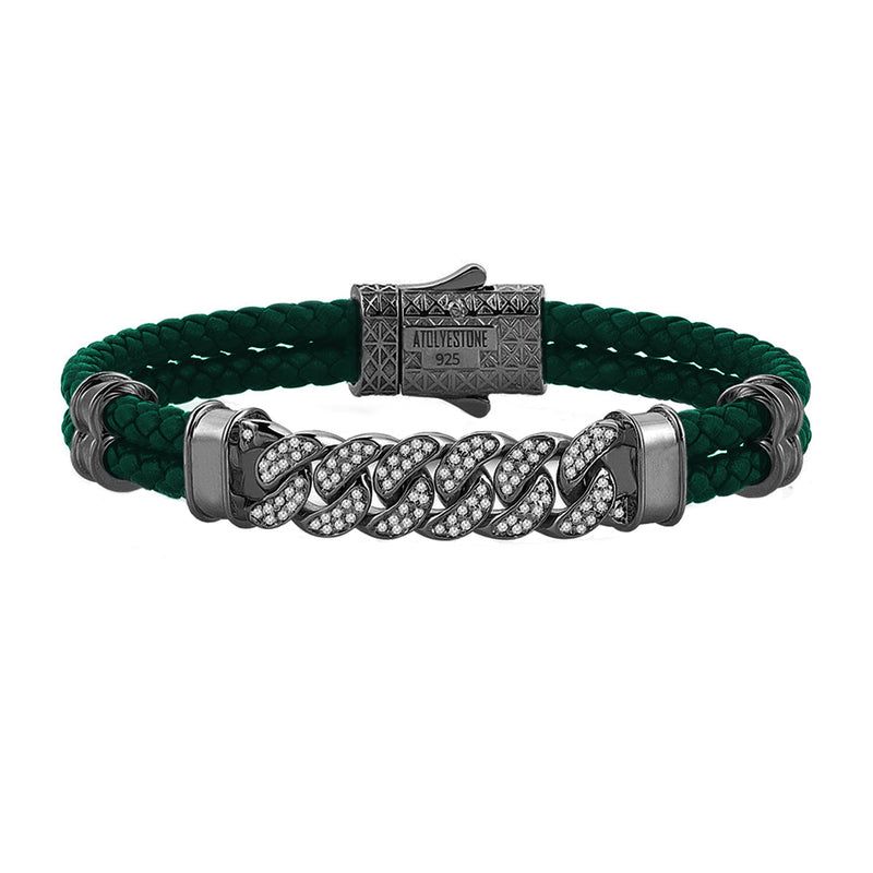 Mens Cuban Links Leather Bracelet - Dark Green Leather - Gunmetal
