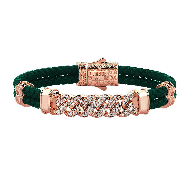 Mens Cuban Links Leather Bracelet - Dark Green Leather - Rose Gold