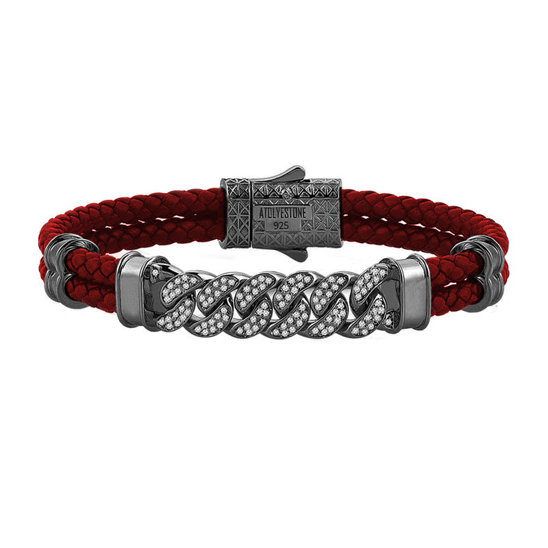 Mens Cuban Links Leather Bracelet - Dark Red Leather - Gunmetal