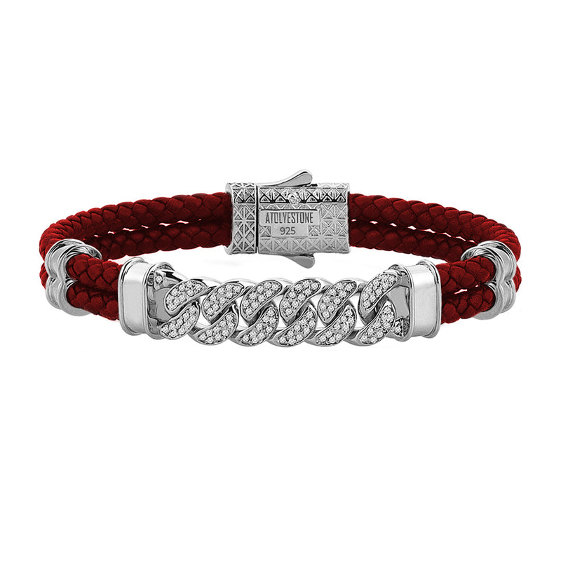 Mens Cuban Links Leather Bracelet - Dark Red Leather - Silver
