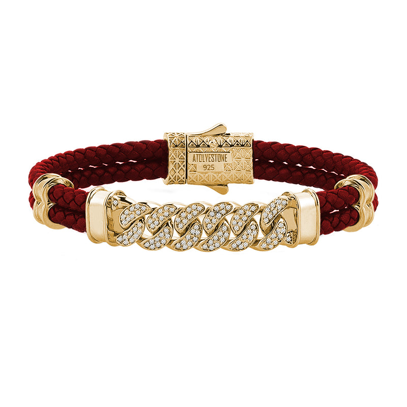 Mens Cuban Links Leather Bracelet - Dark Red Leather - Yellow Gold