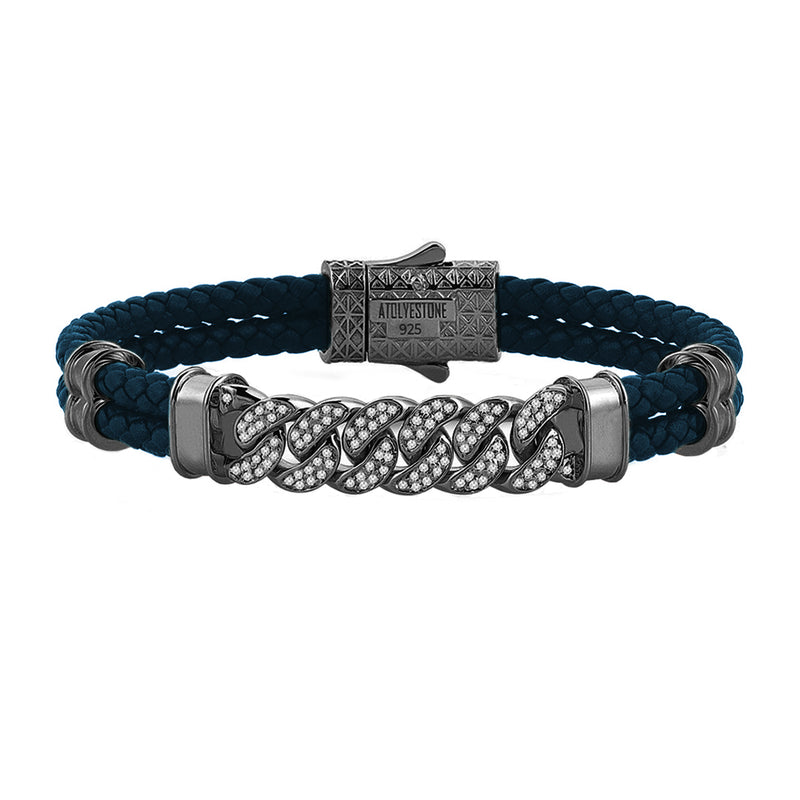 Mens Cuban Links Leather Bracelet - Navy Leather - Gunmetal