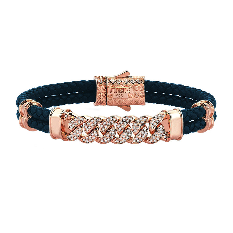 Mens Cuban Links Leather Bracelet - Navy Leather - Rose Gold