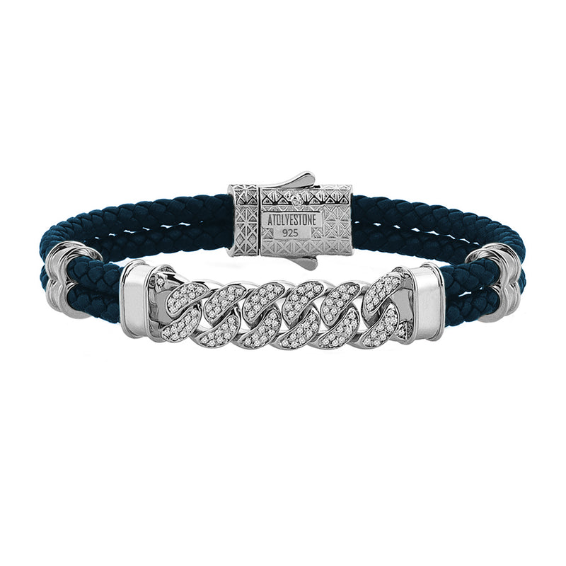Mens Cuban Links Leather Bracelet - Navy Leather - Silver
