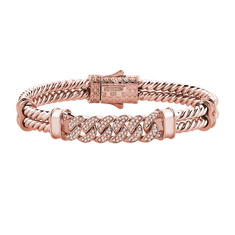 Mens Cuban Links Twıned Bangle - Solid Silver - Rose Gold