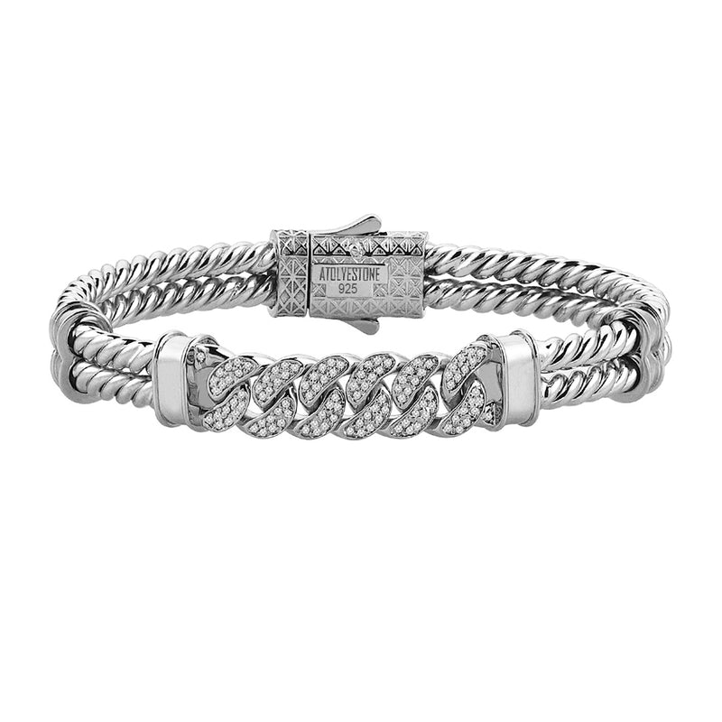 Mens Cuban Links Twıned Bangle - Solid Silver - White Gold