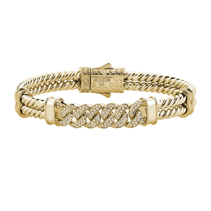 Mens Cuban Links Twıned Bangle - Solid Silver - Yellow Gold