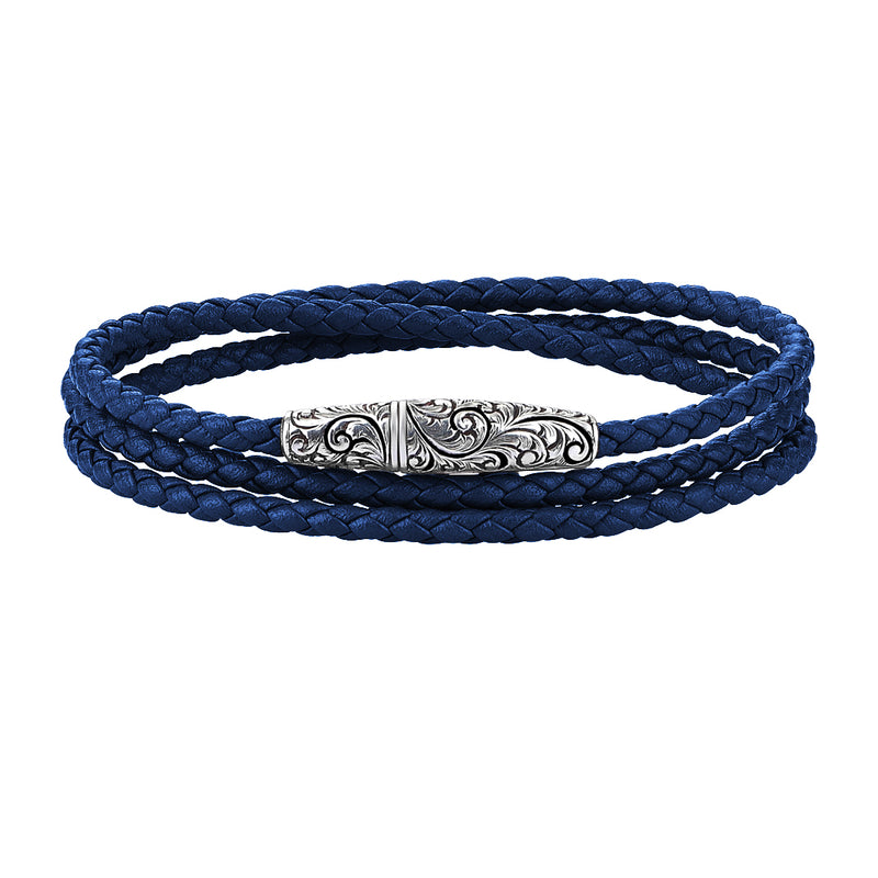 Classic Wrap Leather Bracelet - Solid Silver - Silver - Blue Leather