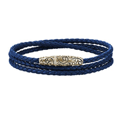 Classic Wrap Leather Bracelet - Solid Yellow Gold - Blue Leather