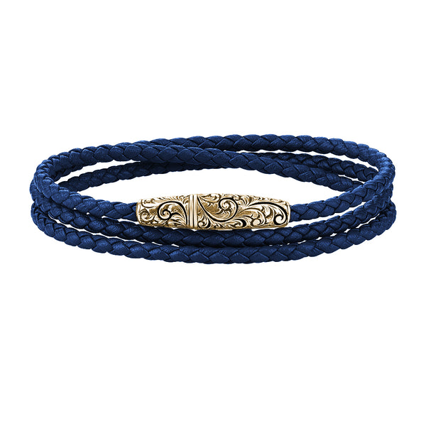 Classic Wrap Leather Bracelet - Solid Silver - Yellow Gold - Blue Leather