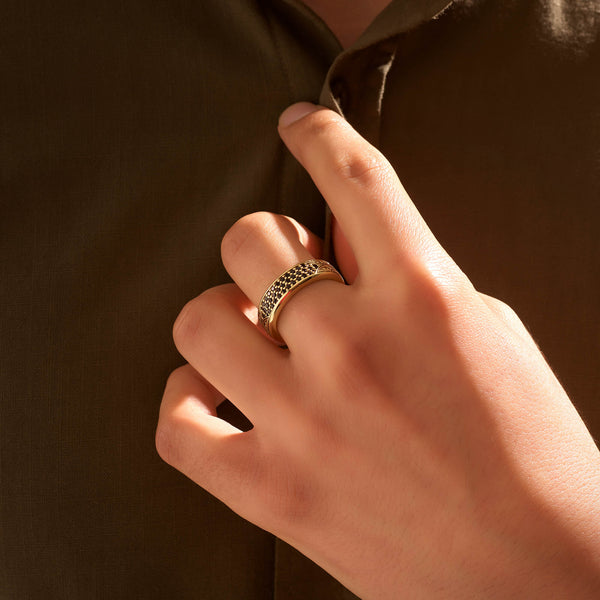 Classic Pave Band Ring - Solid Gold