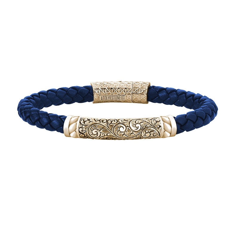 Mens Braided Leather Bracelet - Blue Leather