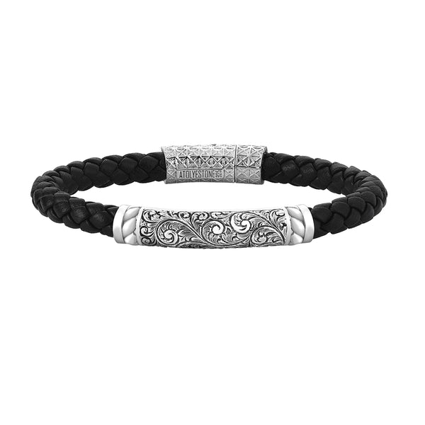 Mens Braided Leather Bracelet - Black Leather