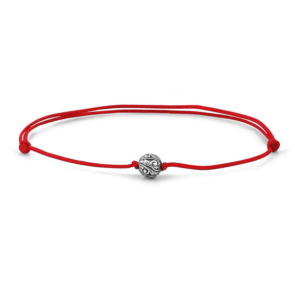 Classic Charm Macrame - Silver - Red