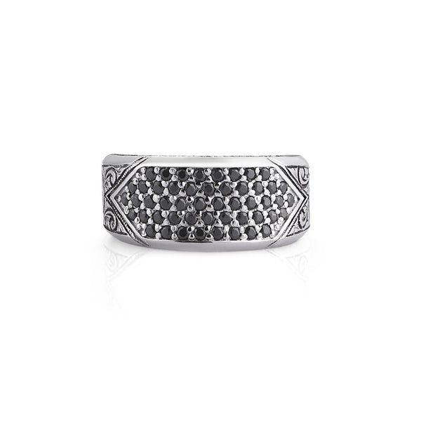 Classic Pave Signet Ring - Solid Silver - Pave Black Diamond