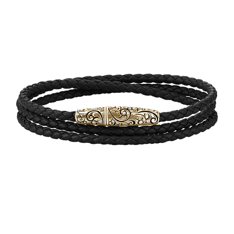Classic Wrap Leather Bracelet - Solid Silver - Yellow Gold - Black Leather