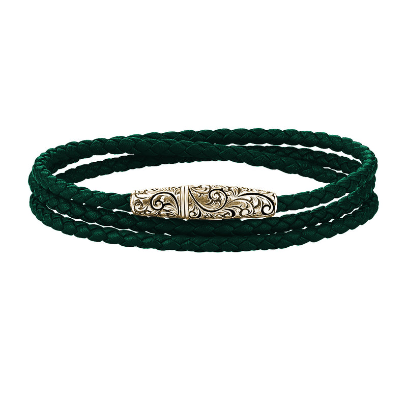 Classic Wrap Leather Bracelet - Solid Yellow Gold - Dark Green Leather