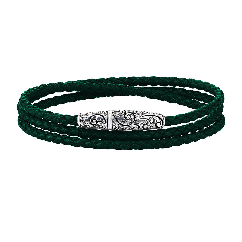 Classic Wrap Leather Bracelet - Solid White Gold - Dark Green Leather