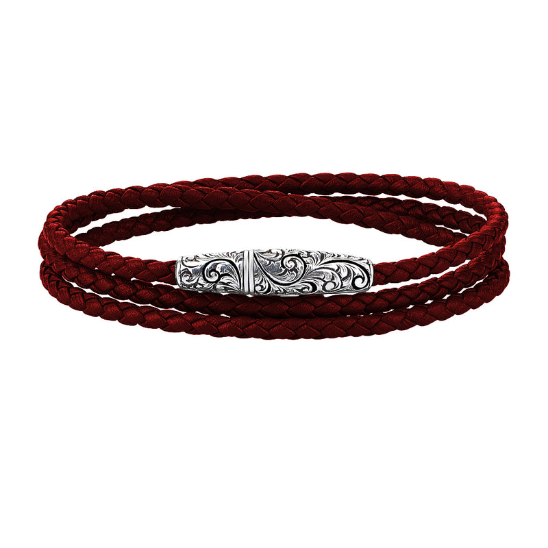Classic Wrap Leather Bracelet - Solid White Gold - Dark Red Leather